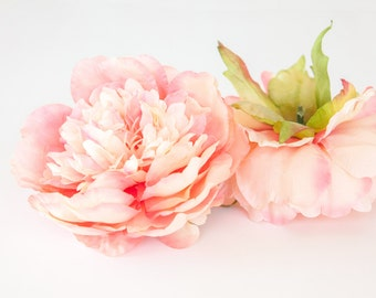 Medium Light Coral PINK Peony - 4.5 Inches - Silk flower - Artificial Flower - ITEM 0466
