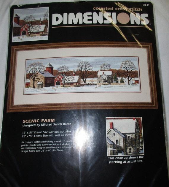 dimensions scenic farm 3841 counted cross stitch stitchery. Black Bedroom Furniture Sets. Home Design Ideas