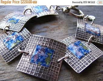 ON SALE Fish Photo Transfer Silver Bracelet, PMC Fine Silver