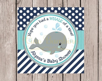 PRINTABLE Whale Baby Shower Favor Tags / Navy Blue, Gray and Turquoise / You Print - 0025