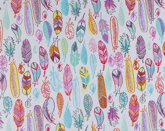 MULTI COLORS FEATHERS Fabric,  Yardage Fabric by the half or full yard, pink, aqua, yellow feathers,  print, cotton