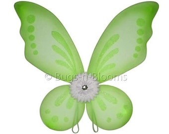 FAIRY WING - Green Butterfly Wings Gerbera Flower Dress Up Costume Toddler Girls Childs Birthday Party Favors Halloween