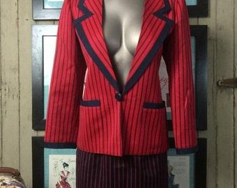 Sale 1970s designer suit 70s pin striped suit size small Vintage suit Couture suit Nina Ricci 2 piece suit