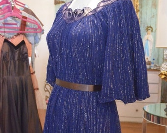 On sale 1970s dress gauze dress 70s dress flutter sleeve dress size medium Vintage dress tent dress lurex dress