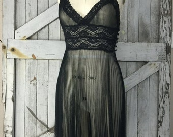 Sheer nightgown black nightie Vintage nightie accordion pleated nightgown size small vintage lingerie