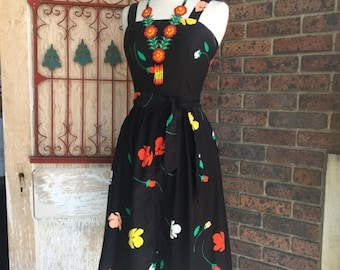 1970s sundress 70s does the 50s size small medium Vintage cotton dress 2 piece dress and jacket