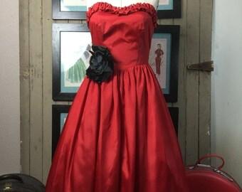1980s dress tea length dress 80s does the 50s dress red dress size medium strapless dress party dress vintage dress