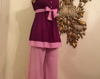 Fall sale 1960s pajamas purple pajamas size small mod pjs 60s pjs babydoll 2 piece sleepwear nylon pajamas