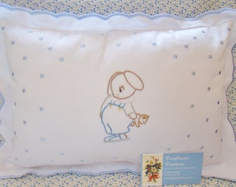 Sleepy Time Bunny -  Hand Embroidered Nursery Boy Pillow - Ready to Ship - Last Minute Shower Gift
