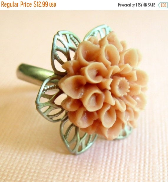 SALE 20% off Peach Flower Ring, Novelty Ring, Silver Peach Ring, Flower Ring
