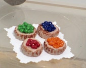 Four fruit tarts dollhouse miniature