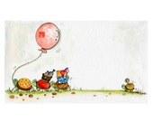 happy birthday ( Whimsical Print ) turtle, whimsical, celebration, balloon