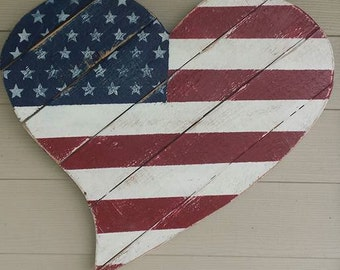 Distressed Patriotic Heart, Flag, Stars and Stripes, Red, White and Blue - Handpainted Wood Sign