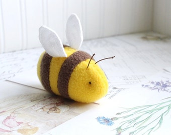 Handmade Bumble Bee Stuffed Animal Yellow and Brown Plush Bug Kawaii Fleece Insect