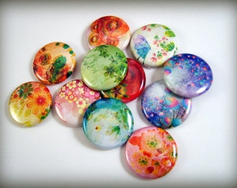 Modern Floral Magnets, Pins or Flat Backs, One Inch, 12 ct Set