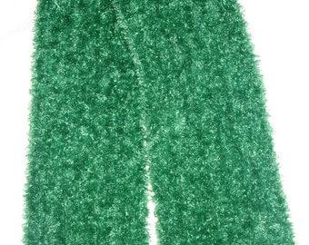 "New Handmade Knit Scarf in Holly Green Bernat Boa - 8"" x 66"""