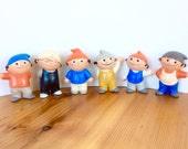 """Mainzelmannchen Figurines. Hummel / Goebel Rubber Boy 4"""" Toys, 1960s. Full Set of 6 Characters. First Generation?"""