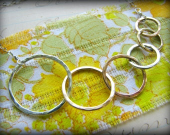 Six Sisters Best Friends Rings Necklace - 6 Symbolic Infinity Linked Circles Gold Rose Sterling Silver Gift 45th 50th 55th 60th 65th 70th