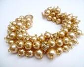 Gold Pearl Bracelet with Rhinestones, Bridesmaid Jewelry, Cluster Bracelet, Gold Wedding Theme, Christmas Wedding Jewelry, Sparkly Jewelry