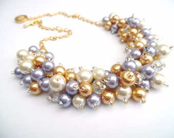 Pearl Wedding Jewelry Chunky Pearl Necklace, Ivory Gold and Lilac, Bridesmaid Jewelry, Cluster Necklace Bridesmaid Gift, Pastel Colours Gift