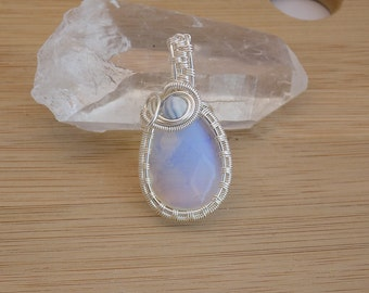 Faceted Opalite Drop Blue Lace Agate Bead Silver Wire Wrapped Pendant Parawire Wire Wrapped Jewelry Handmade Medallion Renaissance Amulet