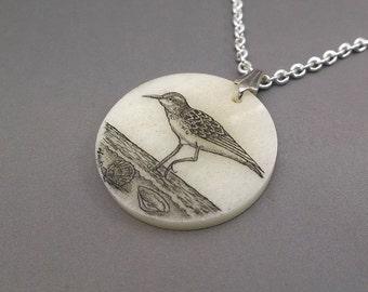 Scrimshaw Necklace, Scrimshaw Pendant, Sandpiper Pendant, Shorebird Pendant, Cow Bone, Silver Chain, Hand Etched, Seashore Scene, Seashells