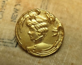 Vintage Woman Head Button Stamped Brass Eagle