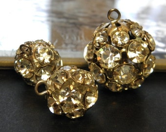 Vintage Rhinestone Bead Balls Jewelry Supply