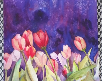 Tulips Watercolor Garden, Night, Starlight Tulips, Small Painting 9 Inches Square