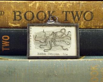 Octopus Pendant - Vintage Dictionary Charm - Octopus Charm Necklace - Nautical Ocean Sea Creature - Vintage Dictionary Book Pendant