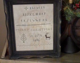PriMiTiVe - - Merry Christmas Dec. 25th 1886  - - EaRLy LoOk CrOSs STiTcH  FraMeD SamPLeR -  LoVe