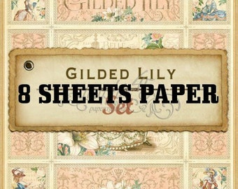 Graphic 45 Gilded Lily 8 Single 12x12 Sheets For Album Layout Scrapbooking Cards