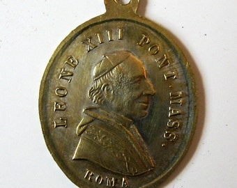 Antique Miraculous Virgin Mary Pope Leone XIII Rome 1800s French Religious Medal Pendant Charm
