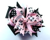 Boutique Pink and Black  Hair Bow  Panda Bear