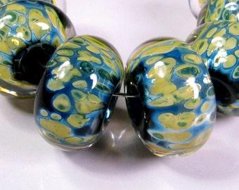 Lampwork beads, Lampwork boro beads, BBGLASSART, Lampwork Glass Beads, Lily Pads