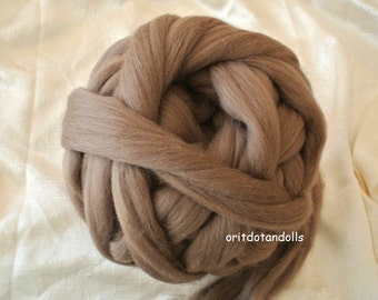 Merino wool rooving, brown, for needlefelt, felting, spinning, weaving and more, made in Italy