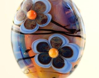 Blue Flowers -  Handmade Lampwork Glass Focal Bead