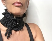 RESERVED - Crocheted Black Neckwarmer with Flowers and Glass Pearls - Lux Cowl Choker - BLACK GARDEN
