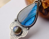 Labradorite Necklace in Silver with Vintage Lace Detail, Boho Style Handmade Artisan Metalwork, Unique Eye Catching Jewelry, Gift for Her