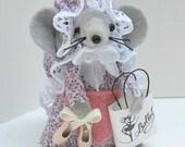 Felt mice  Ballerina Mouse ornament cute dance gift collectible  felt animal Pink Purple  by Warmth - Bella the Ballerina