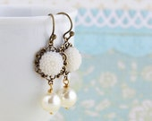 Sale - White Flower Earrings With Ivory Pearl - Bridal Earrings, Dangle Earrings, Pearl Earrings, Shabby Chic Earrings, Gift For Woman