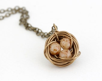 Rustic Nest Necklace - Gift For Mother - Bird Nest Pendant - Mottled Brown Eggs - Gift For Expectant Mom - Nature Jewelry