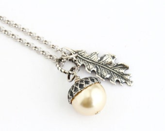 Pale Golden Pearl Acorn Necklace With Antique Silver Oak Leaf Charm - Sterling Silver Chain,Acorn Pendant - Gift For Mom - Gift For Woman