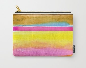 "Abstract Art, Pouch, pink, yellow, teal, orange Purse, Bag, Abstract Painting art ""Finding Serenity No. 4"" by Kathy Morton Stanion  EBSQ"
