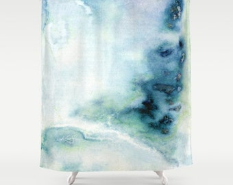 "Blue, Abstract Shower Curtain, Original abstract Spiritual watercolor art painting ""Into The Mystic No. 67""  Kathy Morton Stanion  EBSQ"
