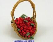 12th scale handmade miniature basket of cherries.