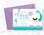 Mermaid Birthday Invitation - Little Mermaid Invitation - Under the Sea Theme - Purple and Teal Mermaid - Ocean Birthday Invite - Printable