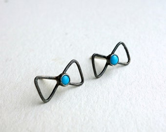 Tiny Sterling Silver and Turquoise Bow Studs