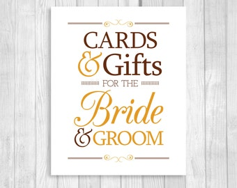 Printable Cards & Gifts for Bride and Groom 5x7, 8x10 Brown and Orange Fall Colors Card Box Wedding Sign - Instant Download