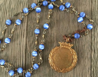 Vintage repurposed one of a kind crown medal pendant and blue bead long statement necklace